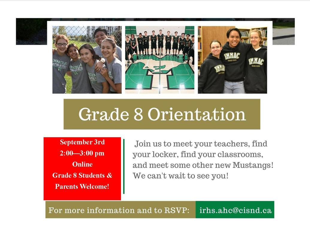 PLEASE NOTE THE CHANGES TO THE GRADE 8 WELCOME!