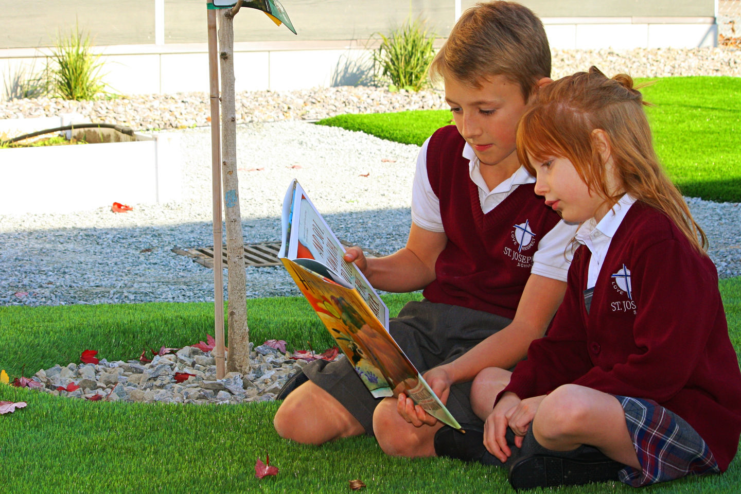 Elementary students reading outside
